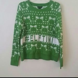 Holiday sweater crew neck champaign glass print